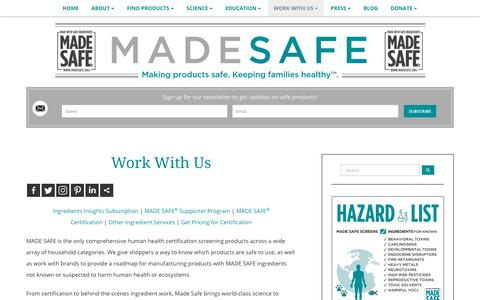 Screenshot of Services Page madesafe.org - Work With Us - captured July 8, 2018