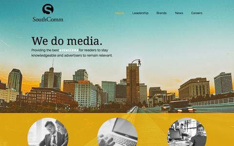 Screenshot of Home Page southcomm.com - SouthComm, Inc. | A Diverse Media Portfolio - captured Oct. 2, 2015