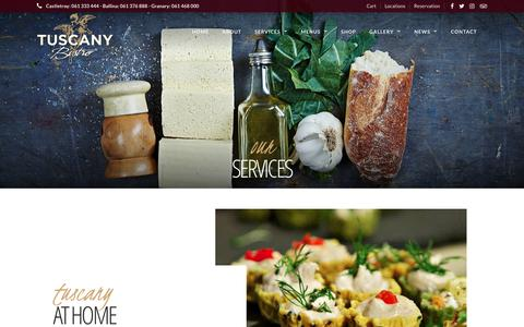 Screenshot of Services Page tuscany.ie - Our Services – Tuscany Bistro - captured Nov. 12, 2017