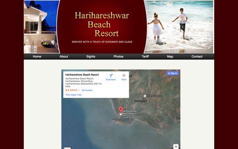 Screenshot of Maps & Directions Page harihareshwar.com - Harihareshwar Beach Resort:Google Map - captured May 23, 2016