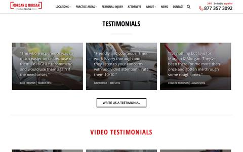 Screenshot of Testimonials Page forthepeople.com - Our Client Testimonials - Morgan & Morgan - captured Sept. 23, 2018