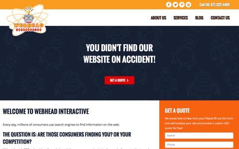 Screenshot of Home Page webheadinteractive.com - Tampa SEO Company | Web Marketing & Social Media Services | Webhead Interactive - captured Dec. 20, 2016