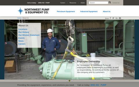 Screenshot of About Page nwpump.com - About NW Pump and Equipment | Petroleum Products - Industrial Pumps - captured Oct. 18, 2018