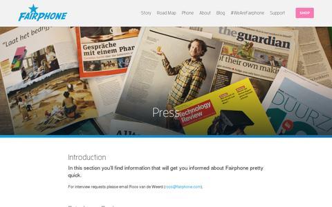 Screenshot of Press Page fairphone.com - Press | Fairphone - captured July 20, 2014