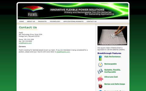 Screenshot of Contact Page flexelinc.com - FlexEl, LLC - Innovative Flexible Power Solutions - captured Sept. 16, 2014
