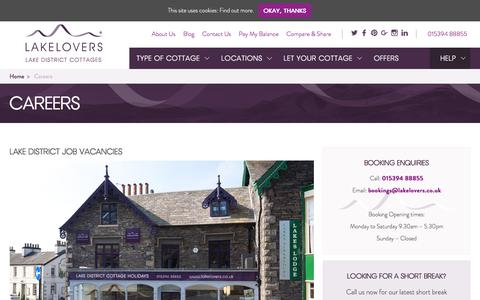 Screenshot of Jobs Page lakelovers.co.uk - Holiday Lettings Jobs & Careers in the Lake District | Lakelovers - captured July 15, 2018