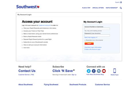 Screenshot of Login Page southwest.com - Login - captured Sept. 19, 2014