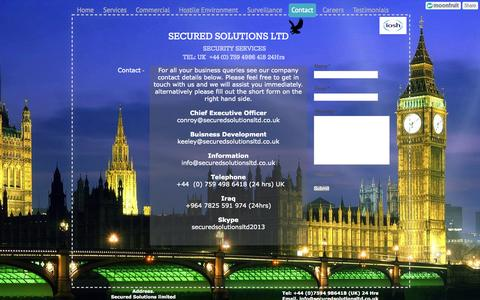 Screenshot of Contact Page securedsolutionsltd.co.uk - Contact - Secured Solutions Limited - captured Oct. 9, 2014