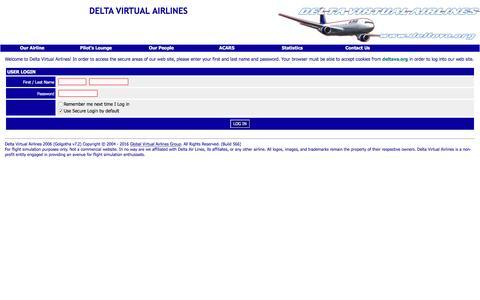Screenshot of Login Page deltava.org - Delta Virtual Airlines User Login - captured Nov. 9, 2016