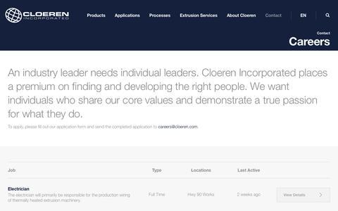 Screenshot of Jobs Page cloeren.com - Careers - Cloeren Incorporated - captured Sept. 28, 2018