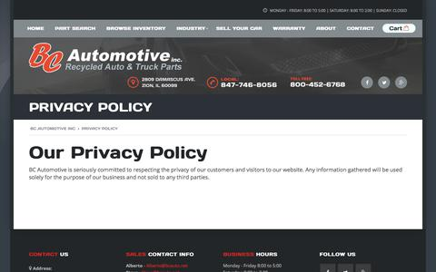 Screenshot of Privacy Page bcautoinc.com - Privacy Policy - BC Automotive Inc - captured Oct. 9, 2017