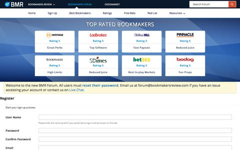 Screenshot of Signup Page bookmakersreview.com - Register -   BookMakers Forum - captured Sept. 24, 2018