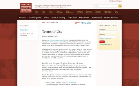 Screenshot of Terms Page minnesotanonprofits.org - Terms of Use | Minnesota Council of Nonprofits - captured Oct. 26, 2014
