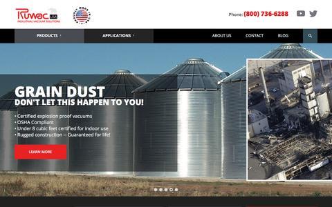 Screenshot of Home Page ruwac.com - Industrial Vacuum Cleaner Manufacturer | Ruwac USA - captured Sept. 21, 2018