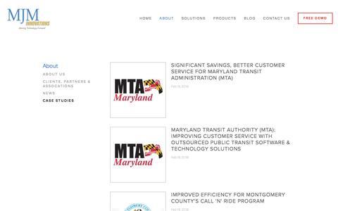 Screenshot of Case Studies Page mjminnovations.com - Case Studies — MJM Innovations: A Leading Transportation Management Software Provider - captured July 19, 2016