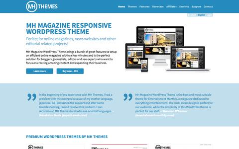 Screenshot of Home Page mhthemes.com - Premium Magazine WordPress Themes | MH Themes - captured Sept. 18, 2014