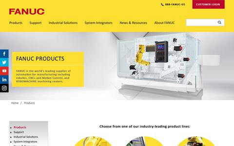 Screenshot of Products Page fanucamerica.com - FANUC Products - Robot, CNC and ROBOMACHINE   FANUC America - captured Aug. 1, 2018