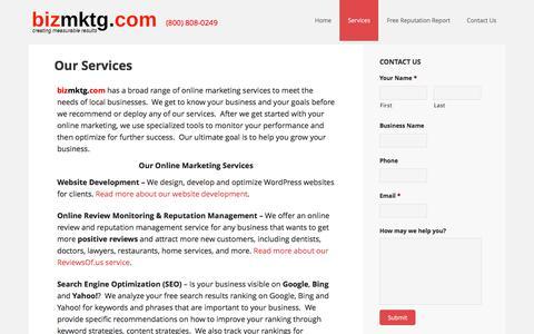 Screenshot of Services Page bizmktg.com - Our Services - captured Nov. 22, 2016