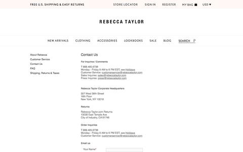 Screenshot of Contact Page rebeccataylor.com - Contact Us | Rebecca Taylor - captured Jan. 10, 2016