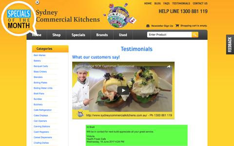 Screenshot of Testimonials Page sydneycommercialkitchens.com.au - Testimonials .. what our customers say! Sydney Commercial Kitchens Catering equipment - captured Aug. 9, 2017