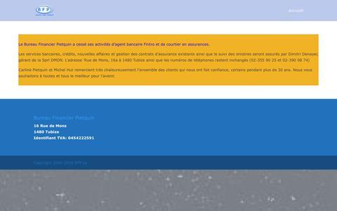 Screenshot of Home Page bfp.be - Bureau Pietquin - Merci de votre confiance | Bureau Financier Pietquin - captured Dec. 19, 2018