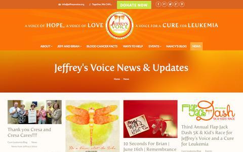 Screenshot of Press Page jeffreysvoice.org - Jeffrey's Voice |   News - captured Oct. 6, 2014