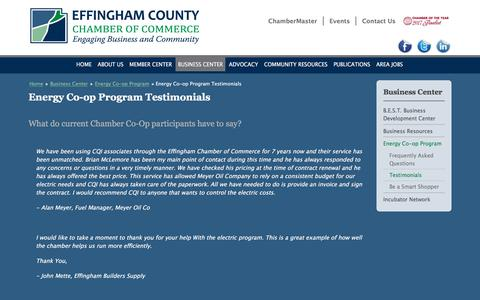 Screenshot of Testimonials Page effinghamcountychamber.com - Energy Co-op Program Testimonials | Effingham County IL Chamber of Commerce - captured July 5, 2018