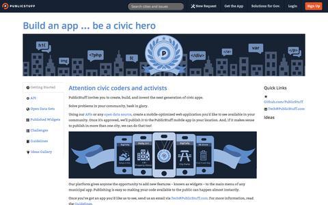 Screenshot of Developers Page publicstuff.com - PublicStuff ~ Developers - captured Sept. 12, 2014