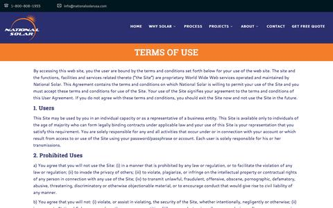 Screenshot of Terms Page nationalsolarusa.com - Terms of Use - National Solar - captured Dec. 10, 2016