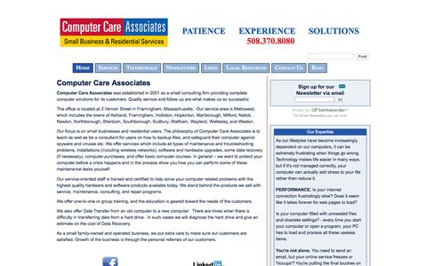 Screenshot of Home Page help4computers.com - Computer Care Associates - captured Sept. 18, 2015