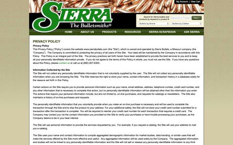 Screenshot of Privacy Page sierrabullets.com - Privacy Policy - Sierra Bullets - The Bulletsmiths - captured Oct. 2, 2018