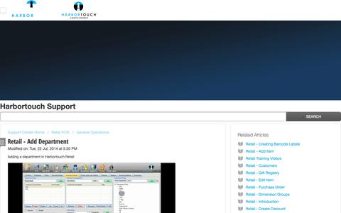 Screenshot of Support Page harbortouch.com - Retail - Add Department : Harbortouch Support Center - captured Oct. 9, 2018