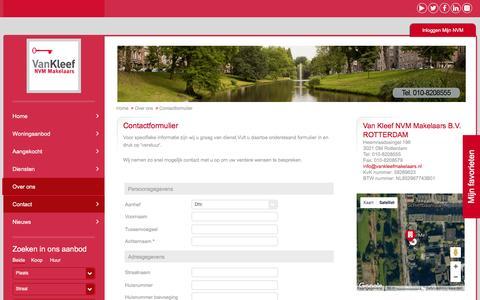 Screenshot of Contact Page vankleefmakelaars.nl - Contact - Van Kleef NVM Makelaars B.V. - captured Nov. 28, 2016