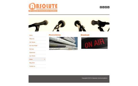 Screenshot of Press Page absolutecommunications.ae - Media - Absolute Communications - captured Oct. 4, 2014