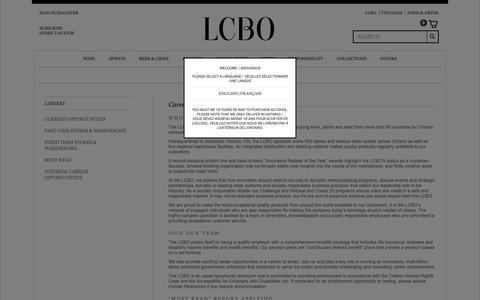 Screenshot of Jobs Page lcbo.com - Careers - captured Feb. 27, 2019