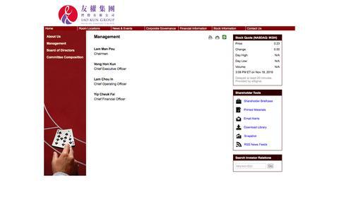 Screenshot of Team Page ikghcl.com - Iao Kun Group Holding Company Limited - Management - captured Nov. 21, 2016