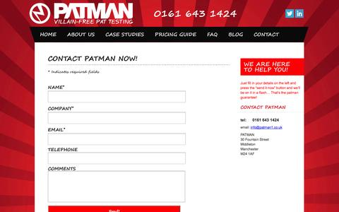 Screenshot of Contact Page patman1.com - CONTACT - captured Oct. 2, 2014