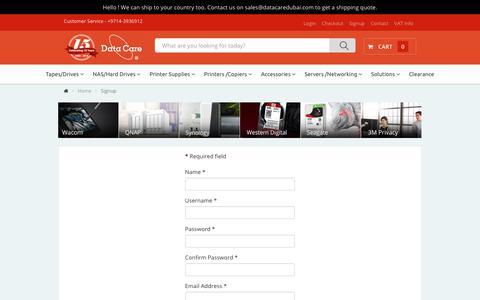 Screenshot of Signup Page datacaredubai.com - Signup - captured Oct. 7, 2018