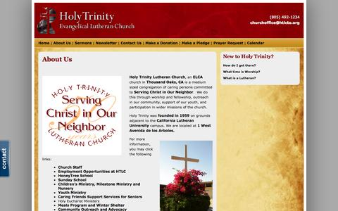 Screenshot of About Page htlcto.org - About Us - Holy Trinity Lutheran Church - captured Oct. 3, 2014