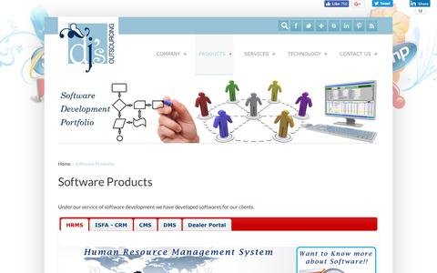 Screenshot of Products Page djsoutsourcing.com - Our Software Development Products - DJ's Outsourcing - captured Oct. 12, 2017