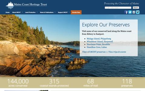 Screenshot of Home Page mcht.org - Maine Coast Heritage Trust - captured Jan. 22, 2017