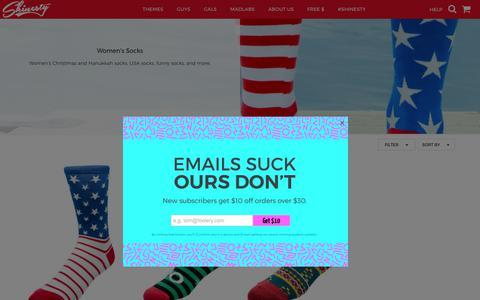 Screenshot of shinesty.com - Funny Women's Socks Only at Shinesty             |    Shinesty - captured Aug. 12, 2017
