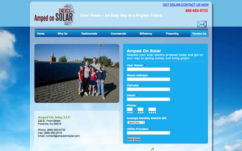 Screenshot of Contact Page ampedonsolar.com - Contact Us Today- Solar Energy Solutions for New Jersey- Eastampton NJ, Burlington NJ, Florence NJ-Amped On Solar - captured Oct. 4, 2014