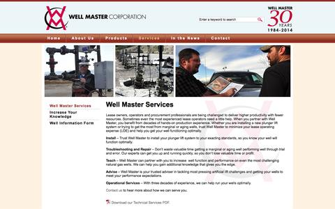 Screenshot of Services Page wellmaster.com - Well Master Services | Well Master Corporation - captured Oct. 7, 2014
