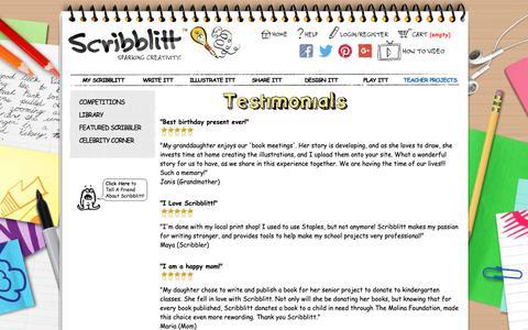 Screenshot of Testimonials Page scribblitt.com - Scribblitt - Make Your Own Book - Kids Self Publishing - captured Oct. 18, 2018