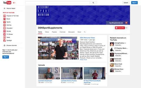 Screenshot of YouTube Page youtube.com - DSNSportSupplements  - YouTube - captured Oct. 27, 2014