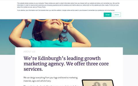 Screenshot of About Page uniqmarketing.co.uk - About - UNIQ Marketing & Design - captured Nov. 20, 2018
