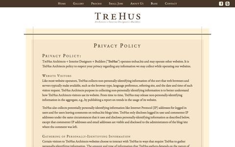 Screenshot of Privacy Page trehus.biz - Privacy Policy - TreHus Architects - captured Nov. 9, 2017