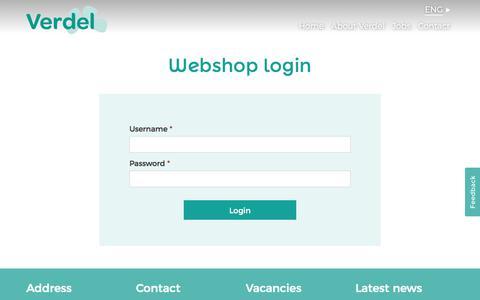 Screenshot of Login Page verdel.eu - Verdel   Webshop login for our extensive assortment   Verdel - captured Feb. 2, 2018