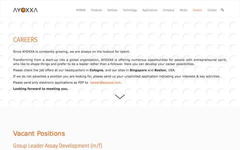 Screenshot of Jobs Page ayoxxa.com - Job Opportunities | AYOXXA - captured Oct. 9, 2017